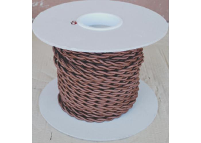 """Провод """"ГУСЕВЪ"""" в стекловолоконной изоляции,в шелковой оплетке, 3x2,5, 300V, T180C, цвет-коричневый (для бань, саун)"""