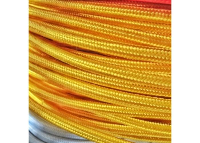 Провод в шелковой оплетке круглый 2*0,75 желтый