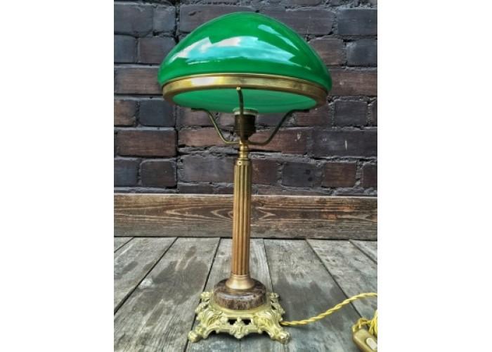 Настольная лампа с зеленым плафоном, литьё, камень